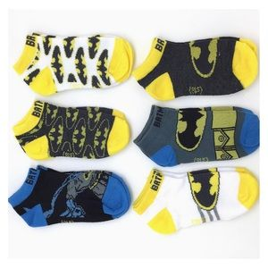 6 Pack Black Blue Yellow BATMAN Toddler Socks NWT